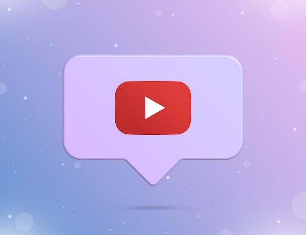 Logo youtube na ikonie powiadomienia 3d