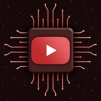 Logo youtube na realistycznym tle technologii cpu 3d