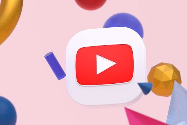 Logo youtube na tle abstrakcyjnej geometrii