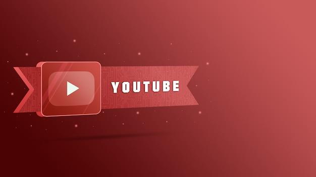 Logo youtube z napisem na tabliczce technologicznej 3d