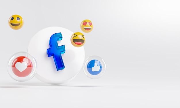 Logo ze szkła akrylowego facebook i ikony mediów społecznościowych copy space 3d