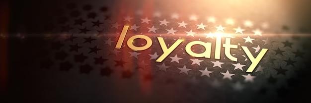 Lojalność - luksusowe złoto słowo na niewyraźne ciemne tło z gwiazdami. błyszczący złoty tekst w promieniach i blasku słońca. renderowanie 3d. koncepcja usługi.