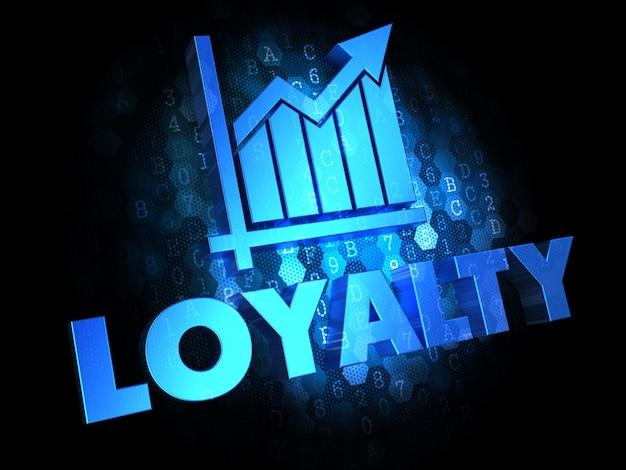 Lojalność z wykresem wzrostu - tekst w kolorze niebieskim na ciemnym tle cyfrowym.