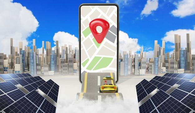 Lokalizacja na mapie, nawigacja punktowa gps, droga podróży, aplikacja na smartfonie, renderowanie 3d