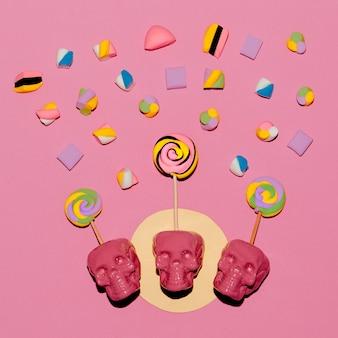 Lollipop skulls. słodki cukierek nastrój moda flatlay art