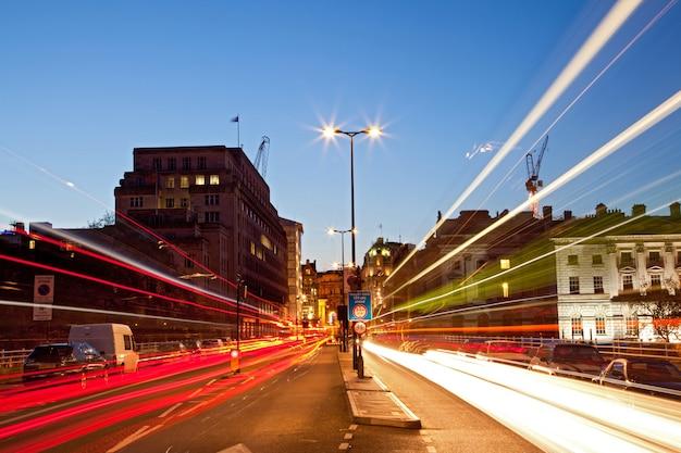 London cityscape road light trail