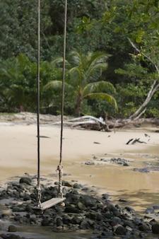 Loney huśtawka blisko plaży i spokojna