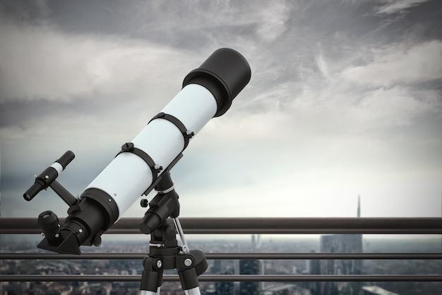 Lornetka z widokiem na miasto z dachu wieżowca. renderowanie 3d