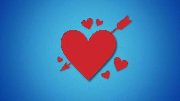 Ð¡loseup romantyczne czerwone serca ze strzałką na niebieskim tle walentynki. luksusowa i elegancka dynamiczna ilustracja 3d na romantyczne wakacje
