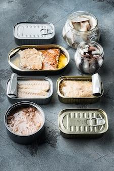 Łosoś, tuńczyk, pstrąg makrela i anchois - konserwy rybne w puszkach zestaw, na szaro