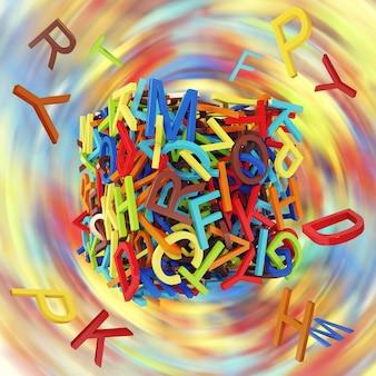 Losowe kolorowe litery. koncepcja edukacji