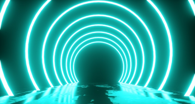 Lot abstrakcyjny, kształt pierścienia światła neonowego, tajemniczy krajobraz kosmiczny. renderowanie 3d
