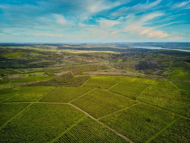 Lot drona z lotu ptaka nad różnymi polami rolniczymi