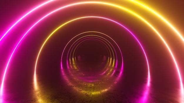 Lot infinity wewnątrz tunelu, neonowe tło abstrakcyjne, okrągła arkada, portal, pierścienie, koła, rzeczywistość wirtualna, widmo ultrafioletowe, pokaz laserowy, odbicie metalowej podłogi. 3d ilustracji