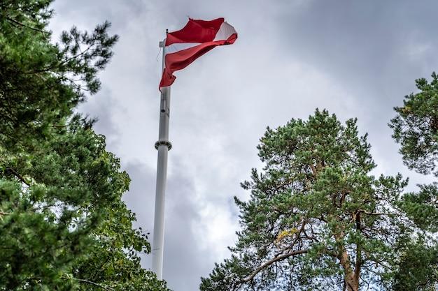 Łotewska flaga powiewa na biegunie w wietrzny dzień patriotyczny symbol