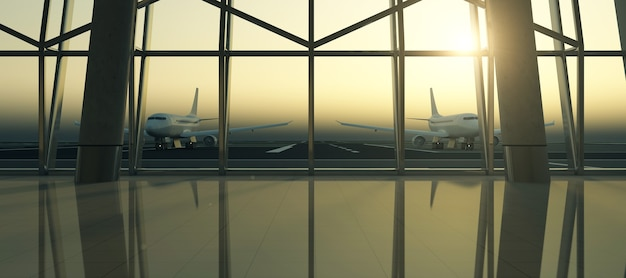 Lotnisko w sunset view z poczekalni terminalu lotniska