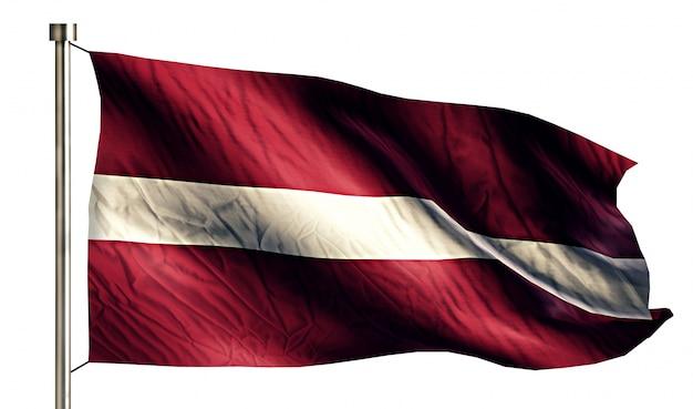 Łotwa flaga narodowa pojedyncze 3d białe tło