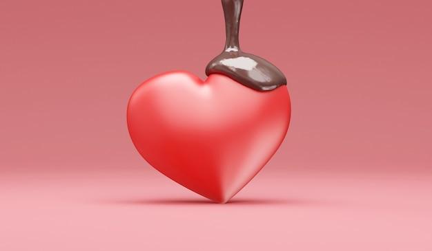 Love heart przelewa się mleczną czekoladą na różowym tle studio