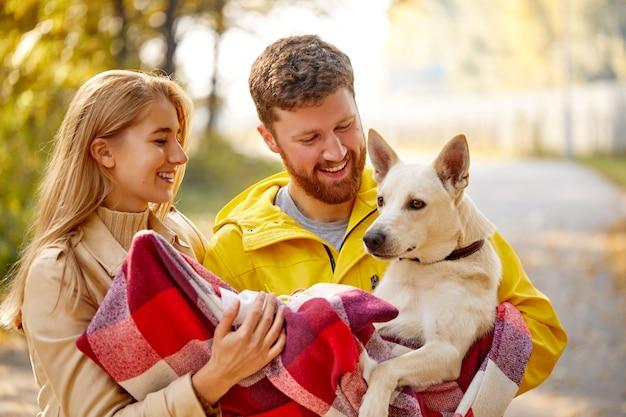 Loving para spaceru w lesie jesienią ścieżką przez żółte drzewa z psem