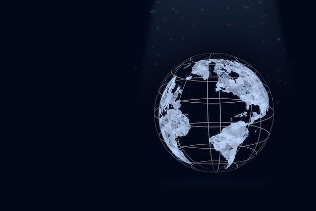 Low poly latająca ziemia na ciemnym niebieskim tle. koncepcja globalnego połączenia sieci. technologie