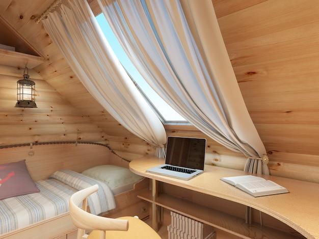 Łóżko i biurko w pokoju dziecięcym w domu z bali na poddaszu w stylu marynistycznym