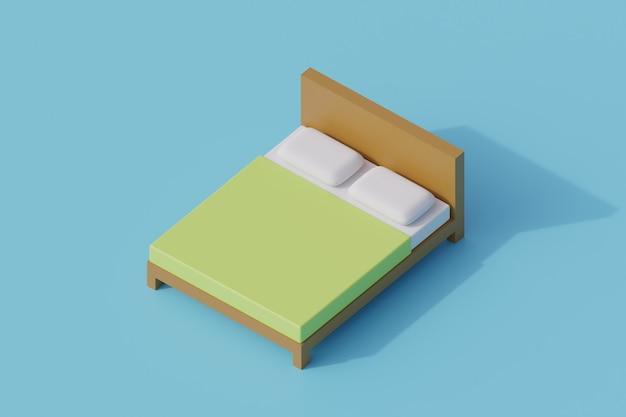 Łóżko pojedynczy izolowany obiekt. 3d render ilustracji izometryczny