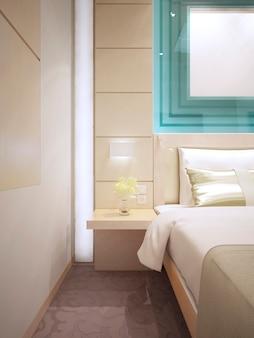 Łóżko ze stolikiem nocnym montowanym na ścianie. piękne listwy ścienne po obu stronach łóżka. szklane dekoracje w kolorze turkusowym. renderowania 3d