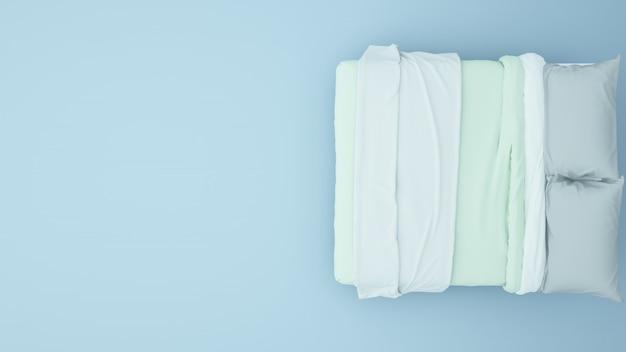 Łóżkowa sztuki praca pastelowego koloru tła 3d rendering