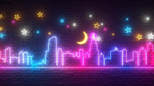 Lśniące neonowe miasto nocą na tle ceglanego muru z gwiazdami i księżycem