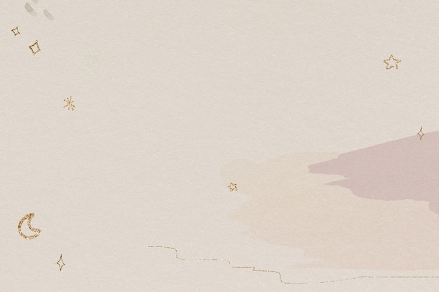 Lśniący złoty wzór księżyca i gwiazd na akwareli