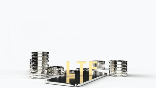 Ltf na telefonach komórkowych i złotych monetach, renderowanie 3d.