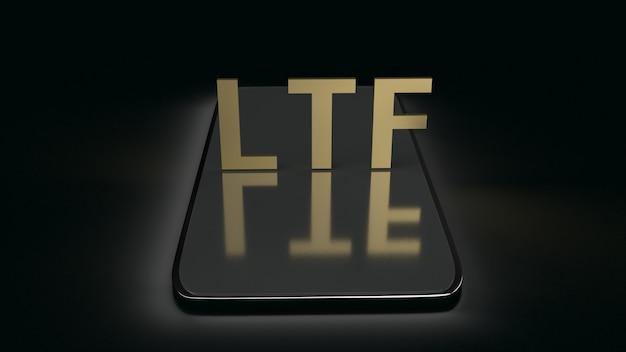 Ltf na telefonie komórkowym na ciemnym brzmieniu, 3d rendering.