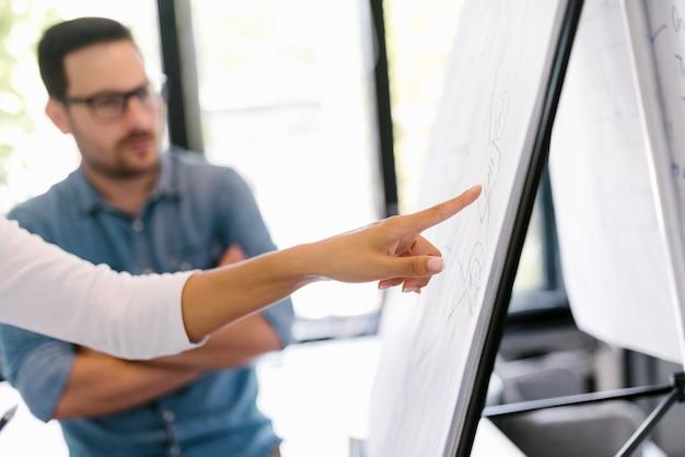 Ludzie biznesu dyskutuje nad whiteboard. zbliżenie.