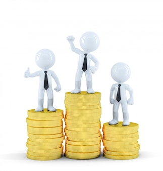 Ludzie biznesu na stosach monet euro. koncepcja zarabiania pieniędzy