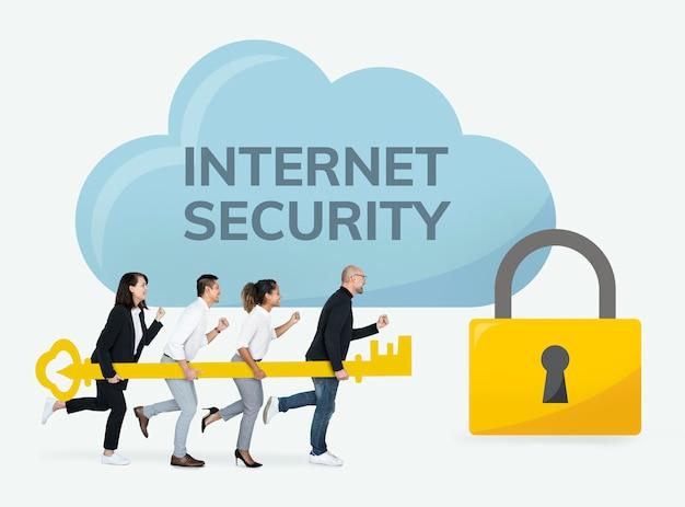 Ludzie biznesu pracuje na bezpieczeństwo w internecie