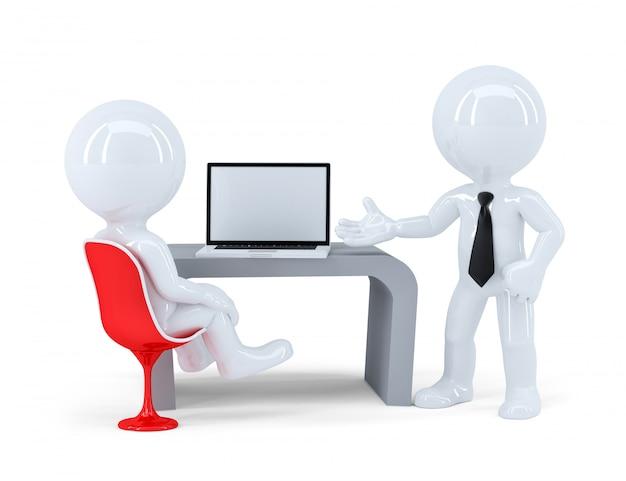 Ludzie biznesu pracuje razem przy laptopem w biurze. odosobniony. zawiera ścieżkę przycinającą