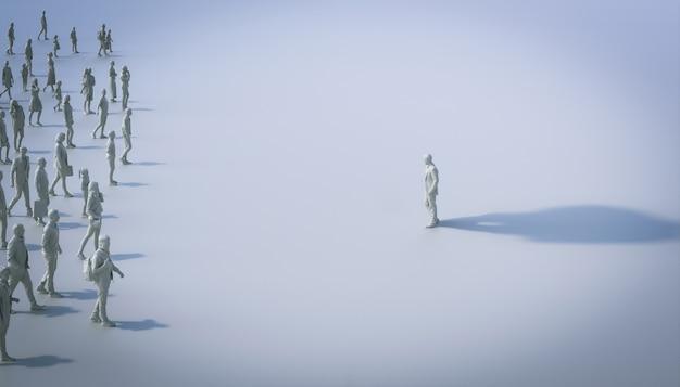 Ludzie patrzący na mężczyznę z bardzo dużym cieniem. pojęcie różnicy, znaczenie. renderowania 3d.