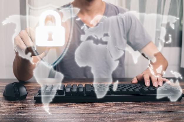 Ludzie pokazujący klawisze ikon do blokowania, ochrony systemu i danych.ilustracja