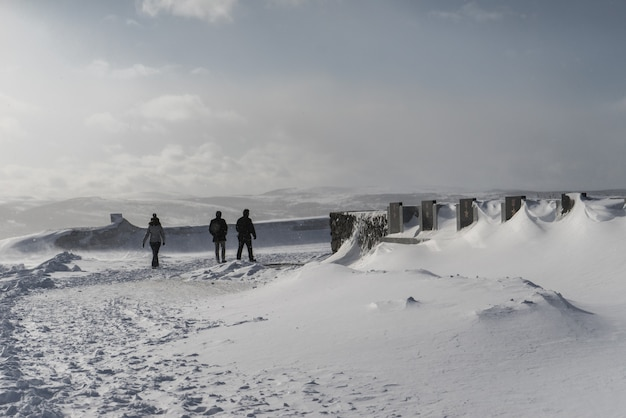 Ludzie spacerują po zaśnieżonym polu na tle góry