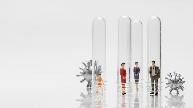 Ludzie w szklanych probówkach podczas pandemii koronawirusa w celu zapobiegania