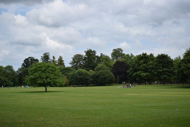Ludzie wypoczywają na trawiastym terenie w oksfordzie w wielkiej brytanii pod zachmurzonym niebem