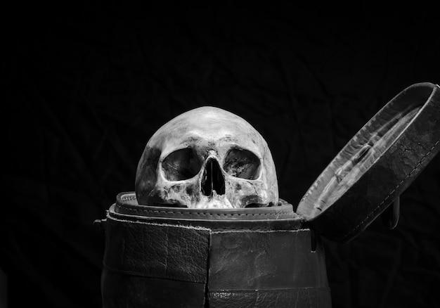 Ludzka czaszka jest umieszczona w starym skórzanym pudełku w czerni i bieli