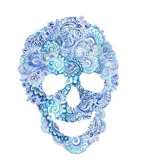 Ludzka czaszka z etnicznym ornamentem w stylu boho. akwarela