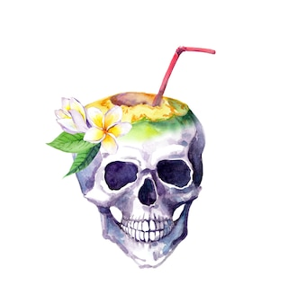 Ludzka czaszka z kwiatami frangipani i kokosem ze słomką koktajlową. akwarela na nietypowy egzotyczny projekt koszulki