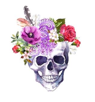 Ludzka czaszka z kwiatami i etnicznym ornamentem w stylu boho. akwarela
