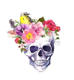 Ludzka czaszka z kwiatami i ptakiem w stylu boho. akwarela