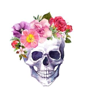 Ludzka czaszka z kwiatami w stylu boho. akwarela