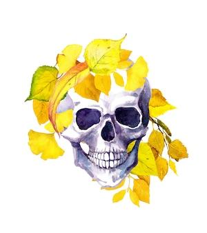 Ludzka czaszka, żółte jesienne liście. akwarela ilustracja