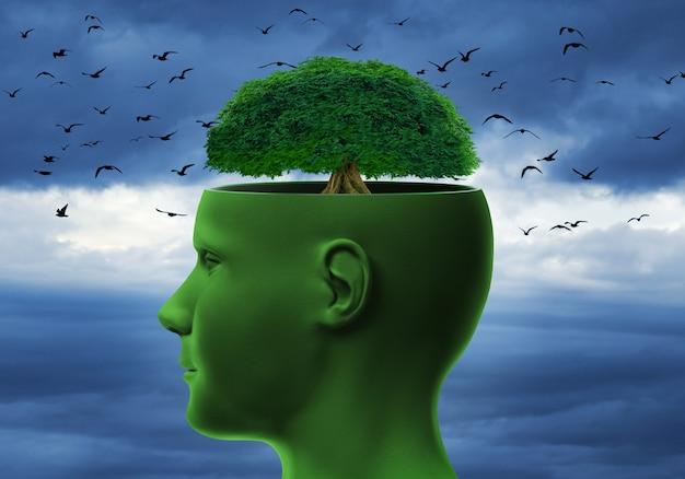 Ludzka głowa z drzewem