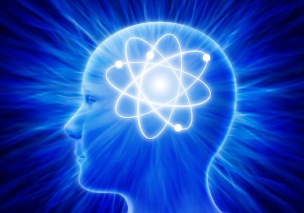 Ludzka głowa z promieniami atomu energii